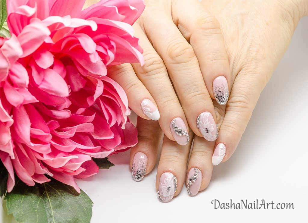 French wedding nails with diamonds and glitters