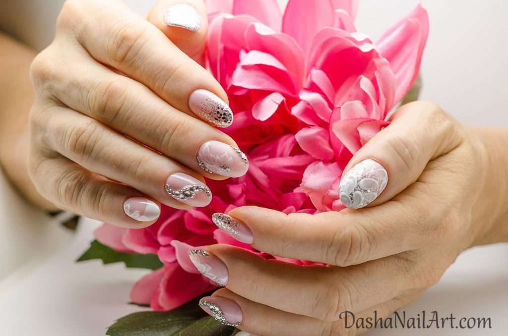 Luxury nude wedding nails with diamonds and glitters