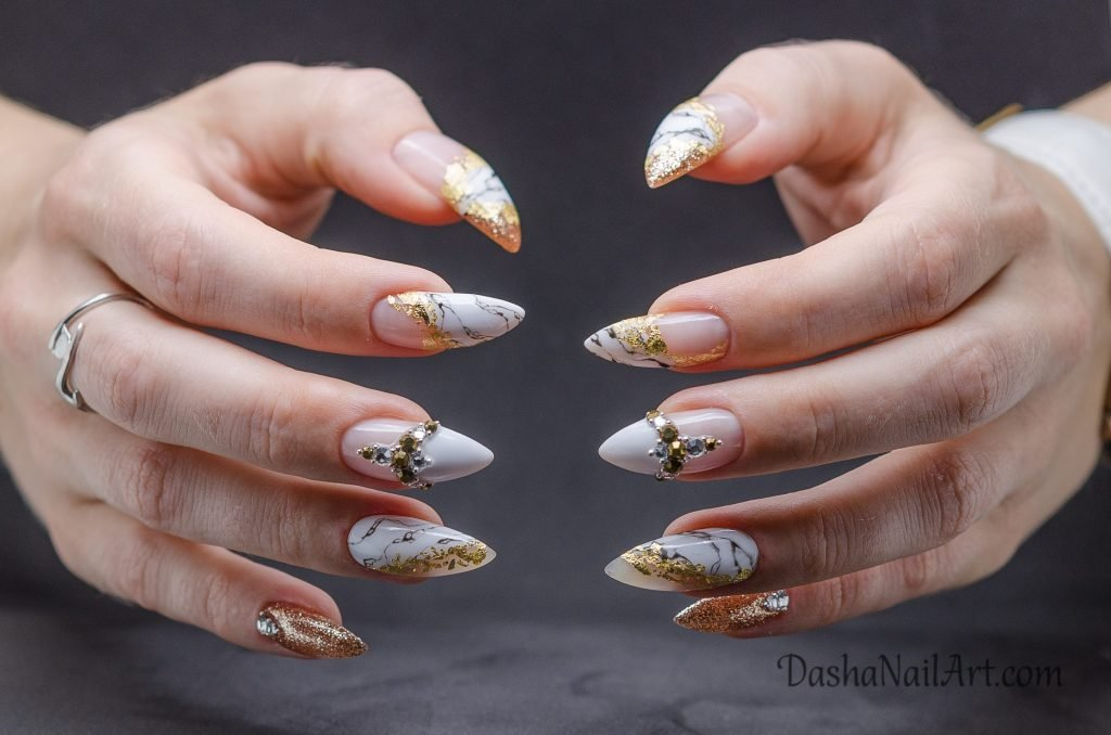 Stiletto design with marble, gold and diamonds