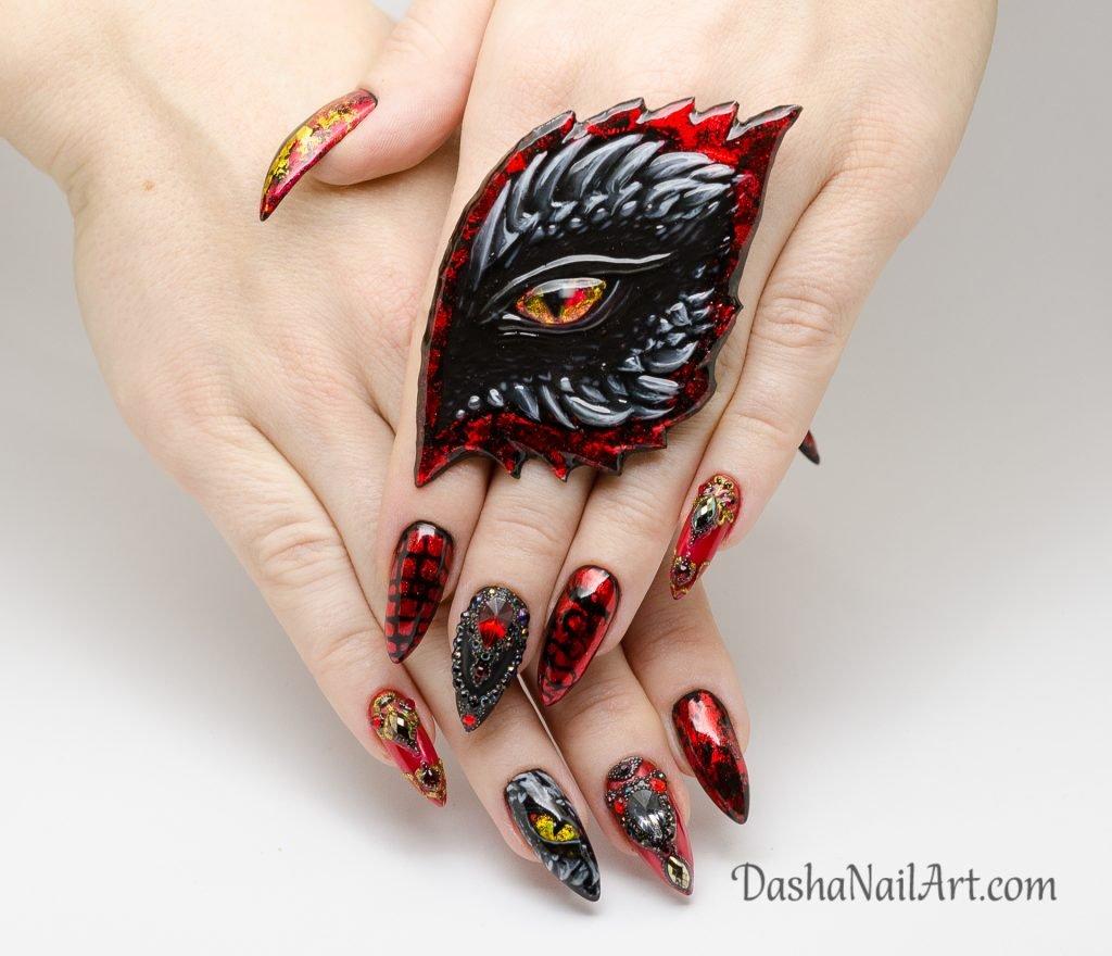 Amazing dragon eye nail design