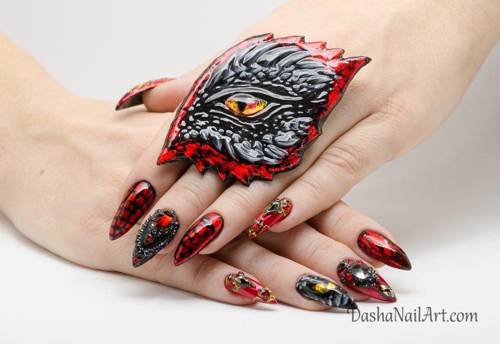 Daenerys Targaryen nail design with diamonds and ring of power