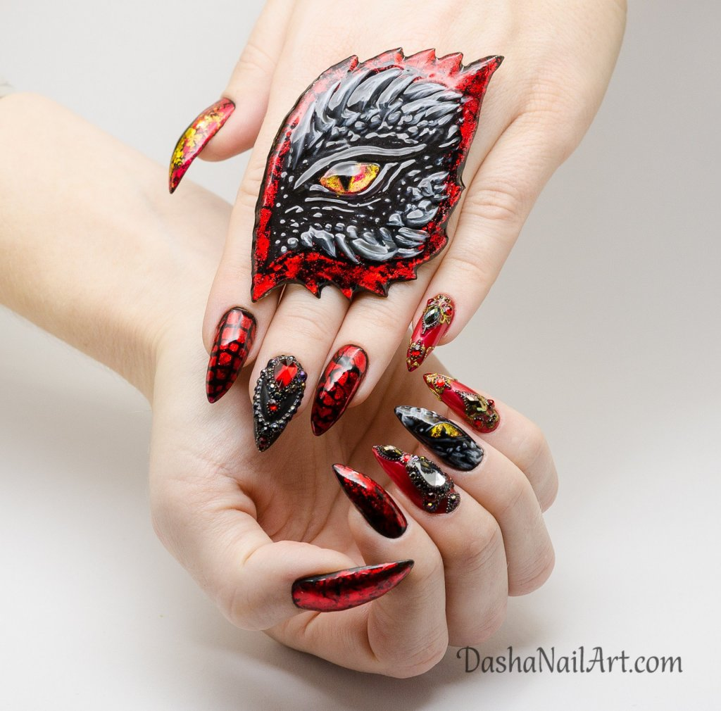 Mother of dragons nail design