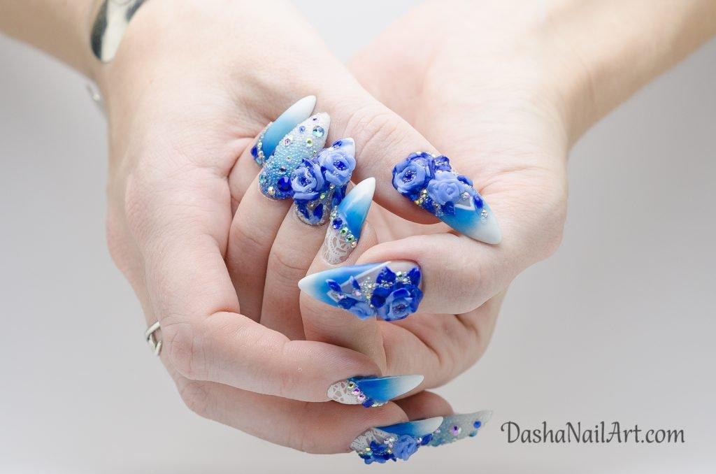 Summer blue diamond nails with 3D flowers