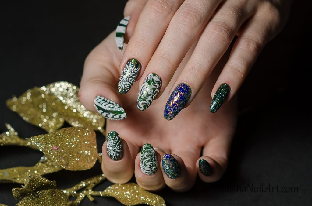 Winter nails with snowflakes