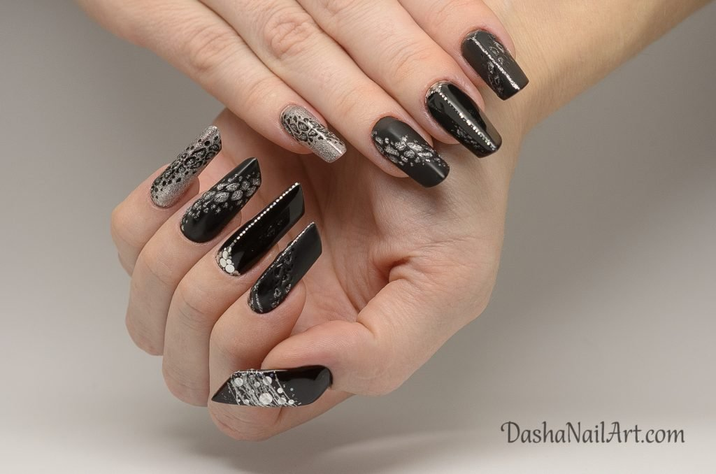 Creative Edge black nails with leopard prints