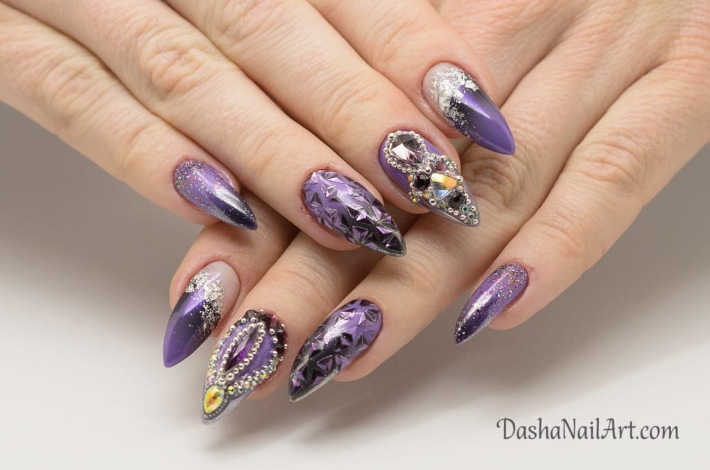 Purple ombre nails with chrome, glitters and stones