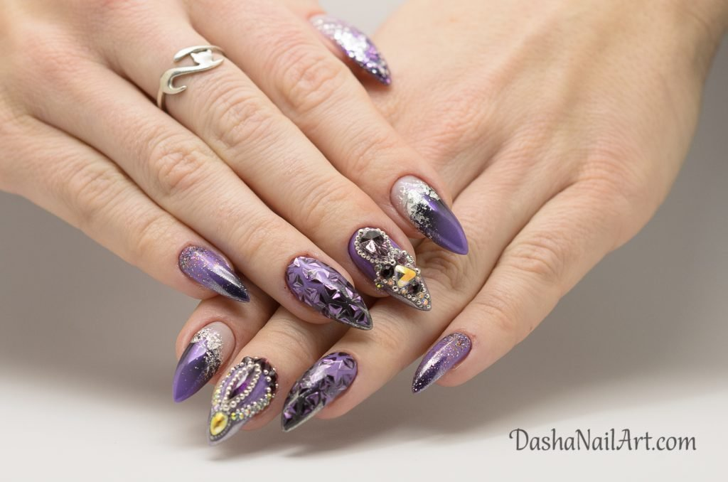 Luxury purple ombre nails with chrome, glitters and stones