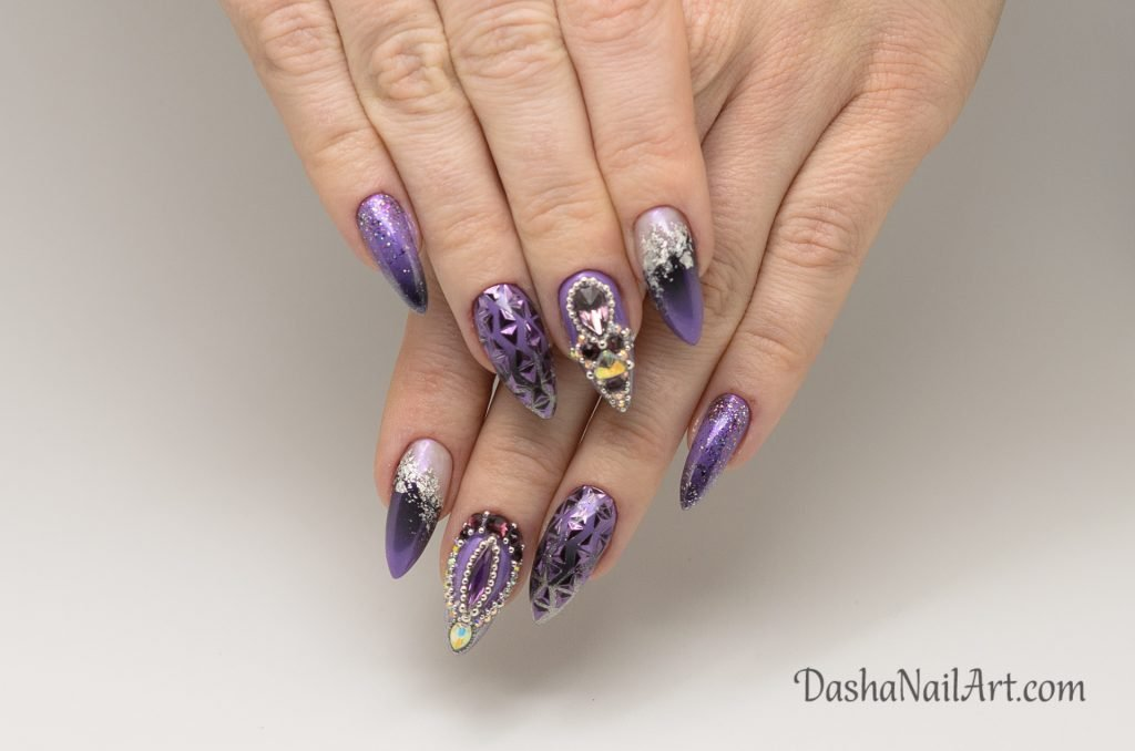 VIP purple nails with chrome, glitters and stones