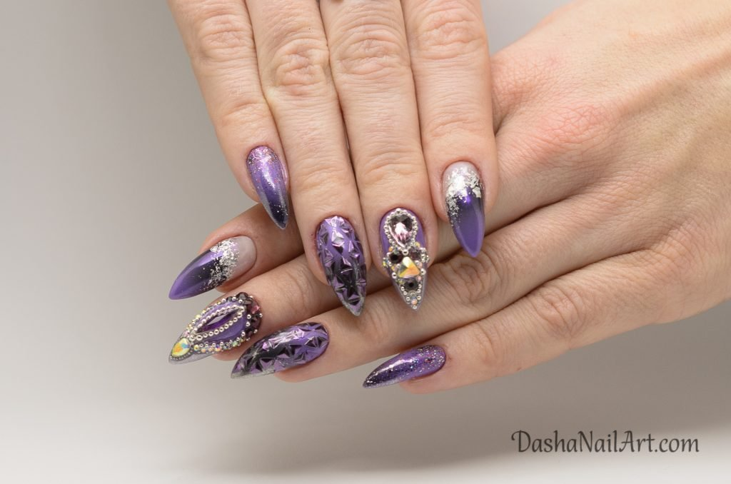 Royal purple shiny chrome nails