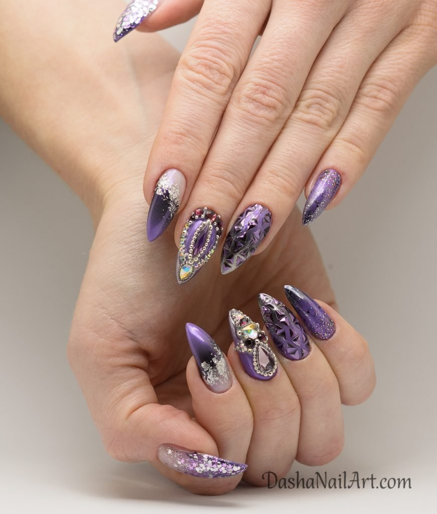 Pretty purple nails with chrome, glitters and stones
