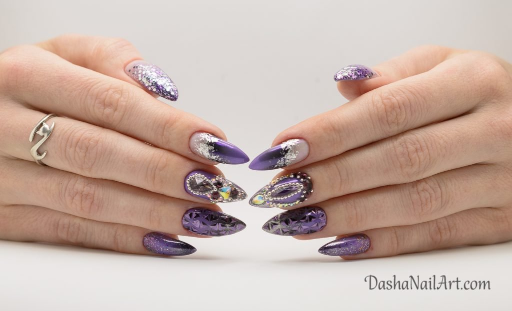 Perfect Purple chrome nails with ombre, foil, glitters and diamonds