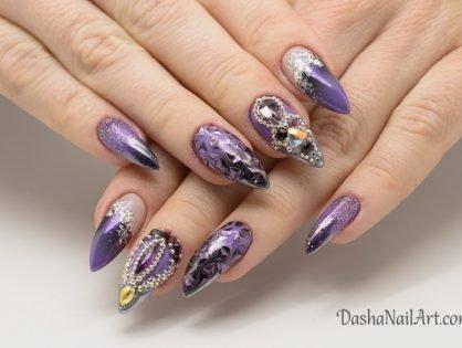 Purple Blink Nails - Nail Art with Diamonds