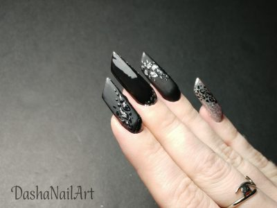 Black Edge nails hard gel extension