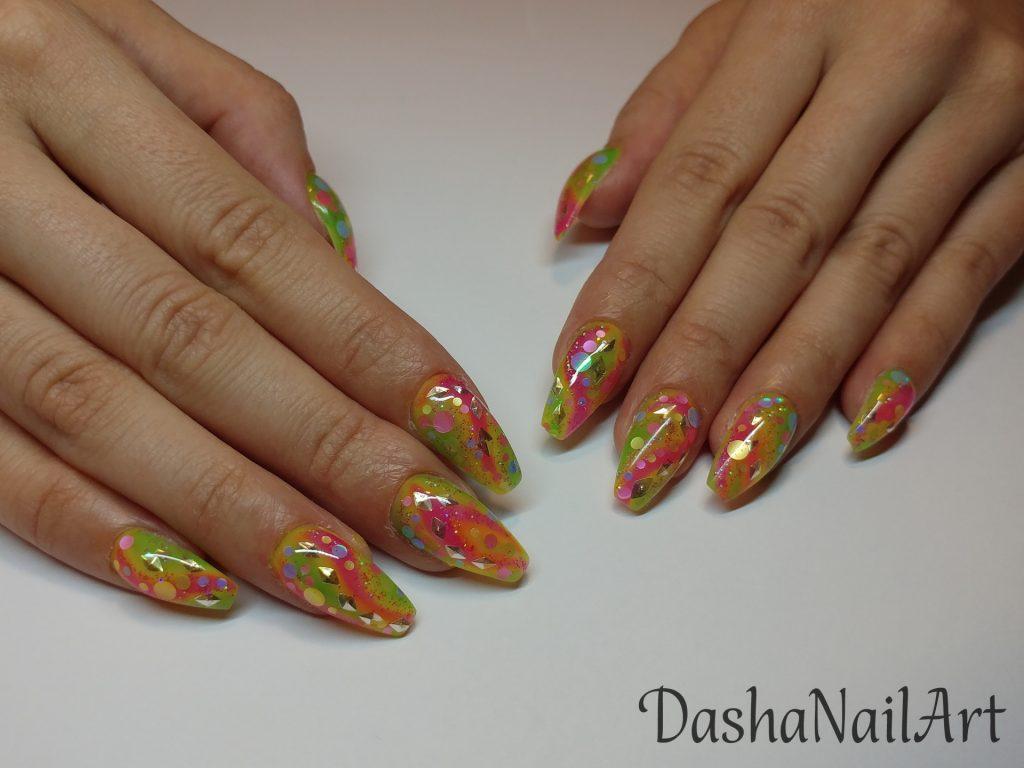 Colorful rainbow aquarium nails