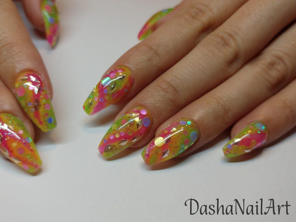 Coffin shaped Colorful rainbow aquarium nails