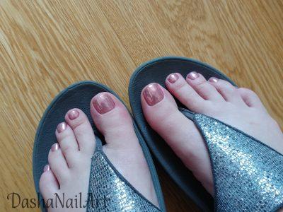 Rose chrome toes pedicure