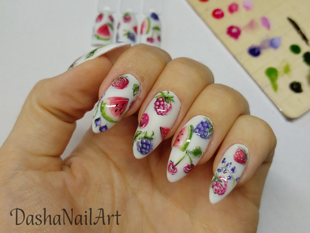 Fruity nails with hand drawn watermelons, cherries, strawberries and berries