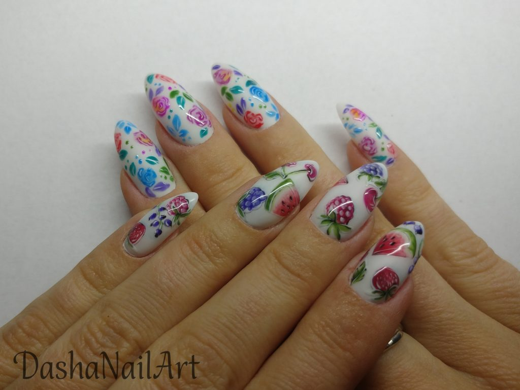 Creative Summer Fruity nails with hand drawn watermelons, cherries, strawberries and berries