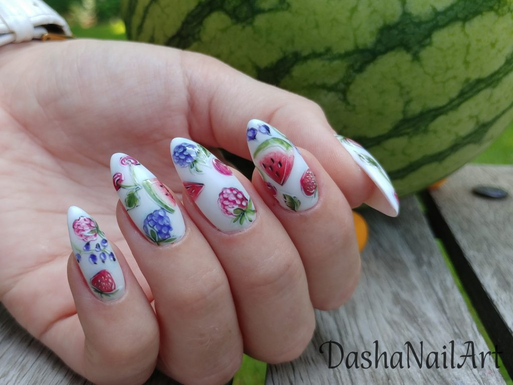 Summer Fruity nails with hand drawn watermelons, cherries, strawberries and berries