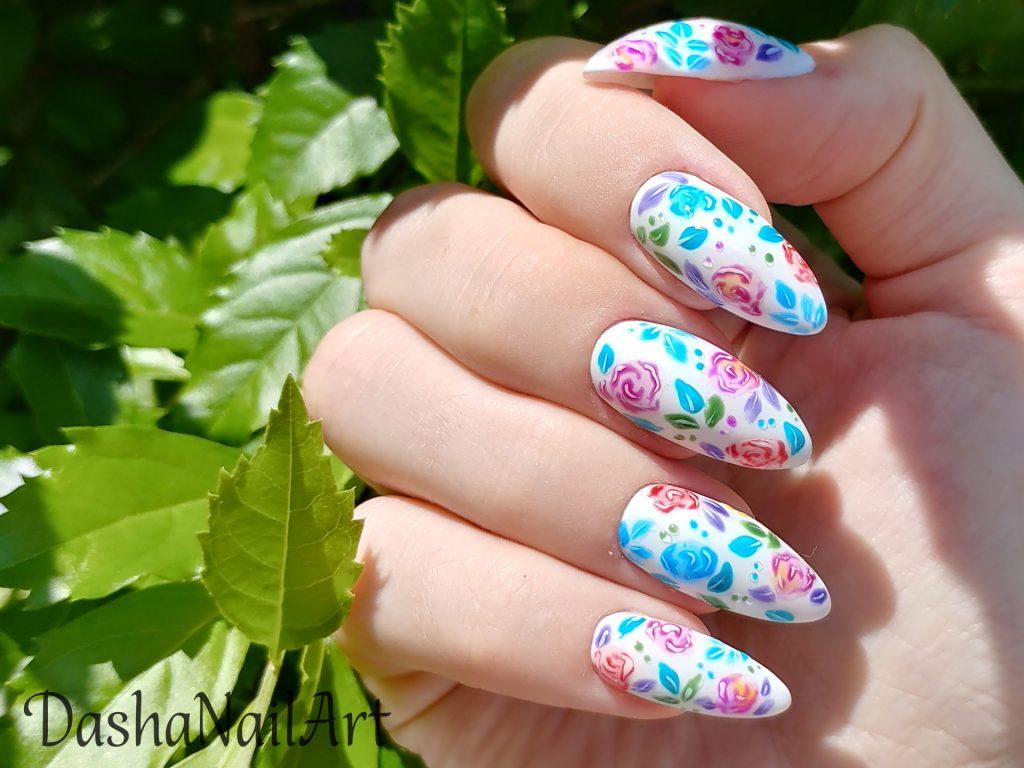 Summer Rose matte nails