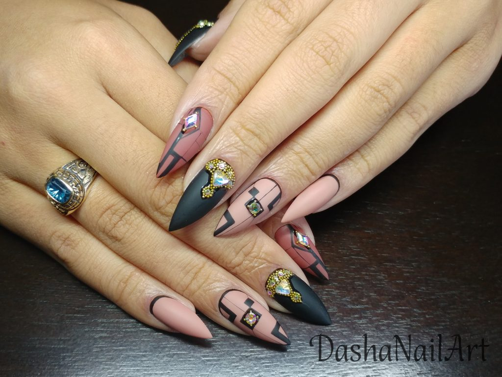 VIP stiletto nude matte graphic nail design with diamonds, gold pearls