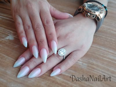 Long elegant french ombre nails