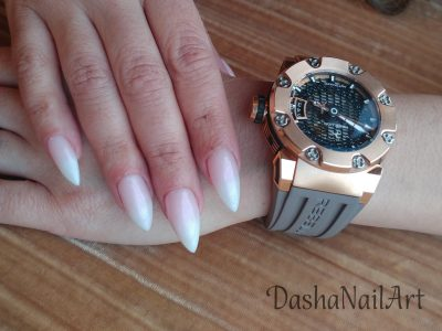 Long elegant french ombre nails rebellion automatic