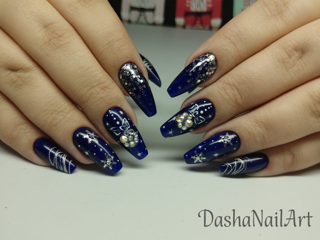 Christmas royal blue nails with diamond Christmas-tree toys and silver snowflakes