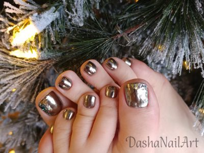 Silver Chrome toes pedicure