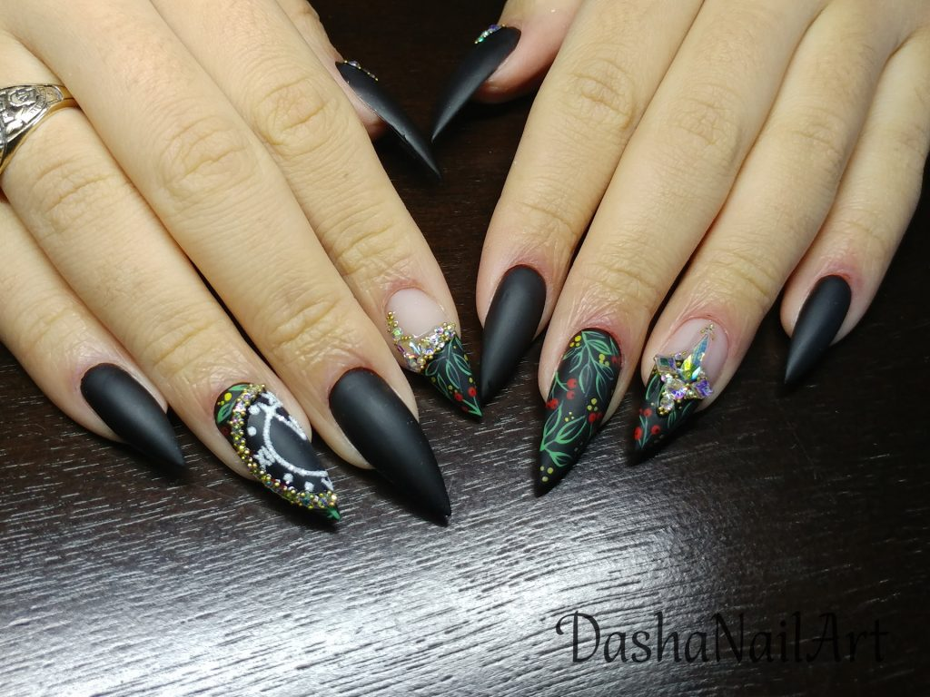 New Year Elegant black matte stiletto nails with clock dial and diamond stars