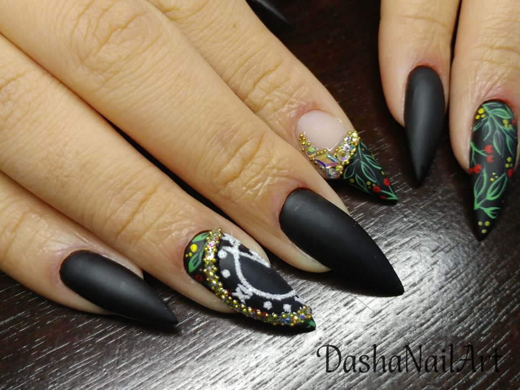 New Year Royal black matte stiletto nails with golden clock dial and diamonds
