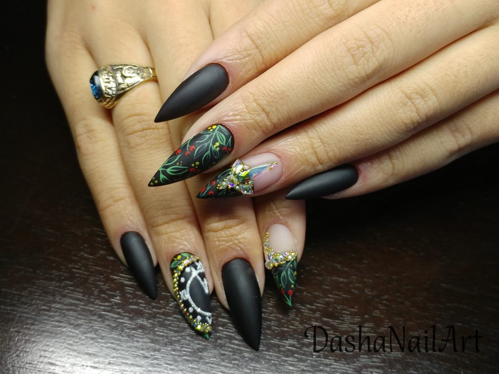 Christmas Royal black matte stiletto nails with golden clock dial and diamonds