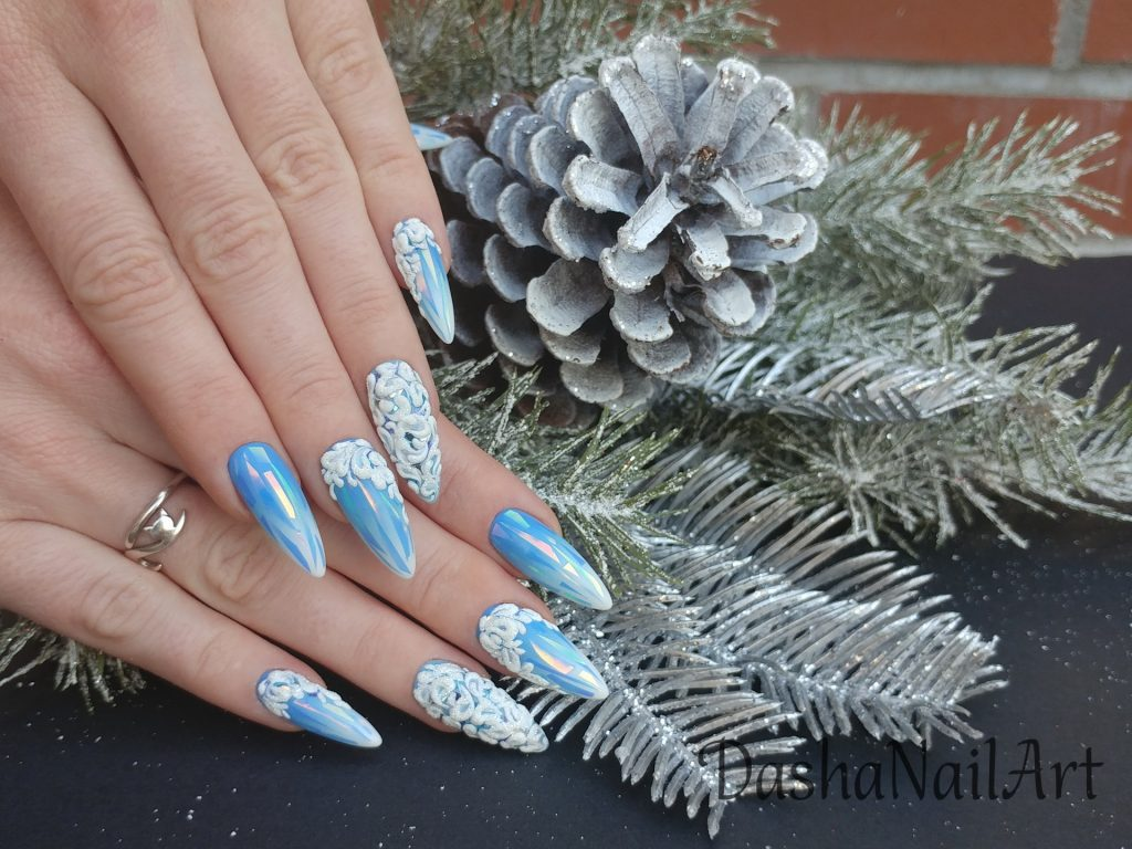 Frozen blue ombre nails (winter nails) with broken glass design and 3D patterns