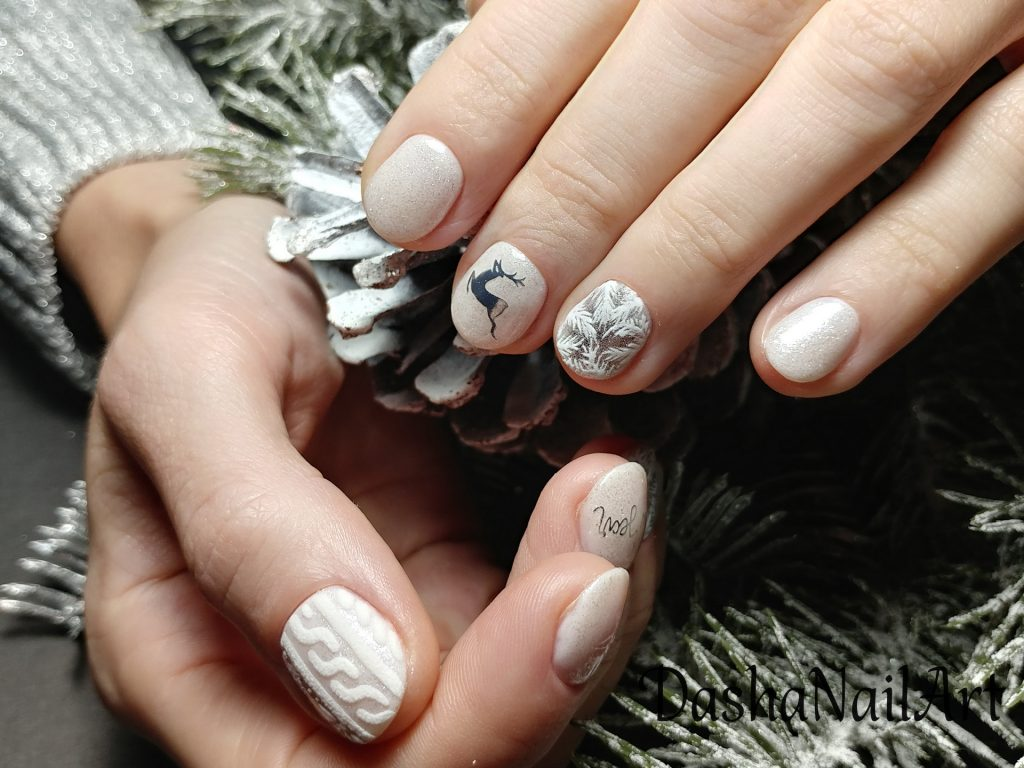 New Year nails with sweater 3D design, prancing deer and hand drawn frost patterns