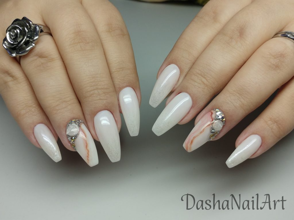 Coffin milky white nails with natural stone effect and diamonds