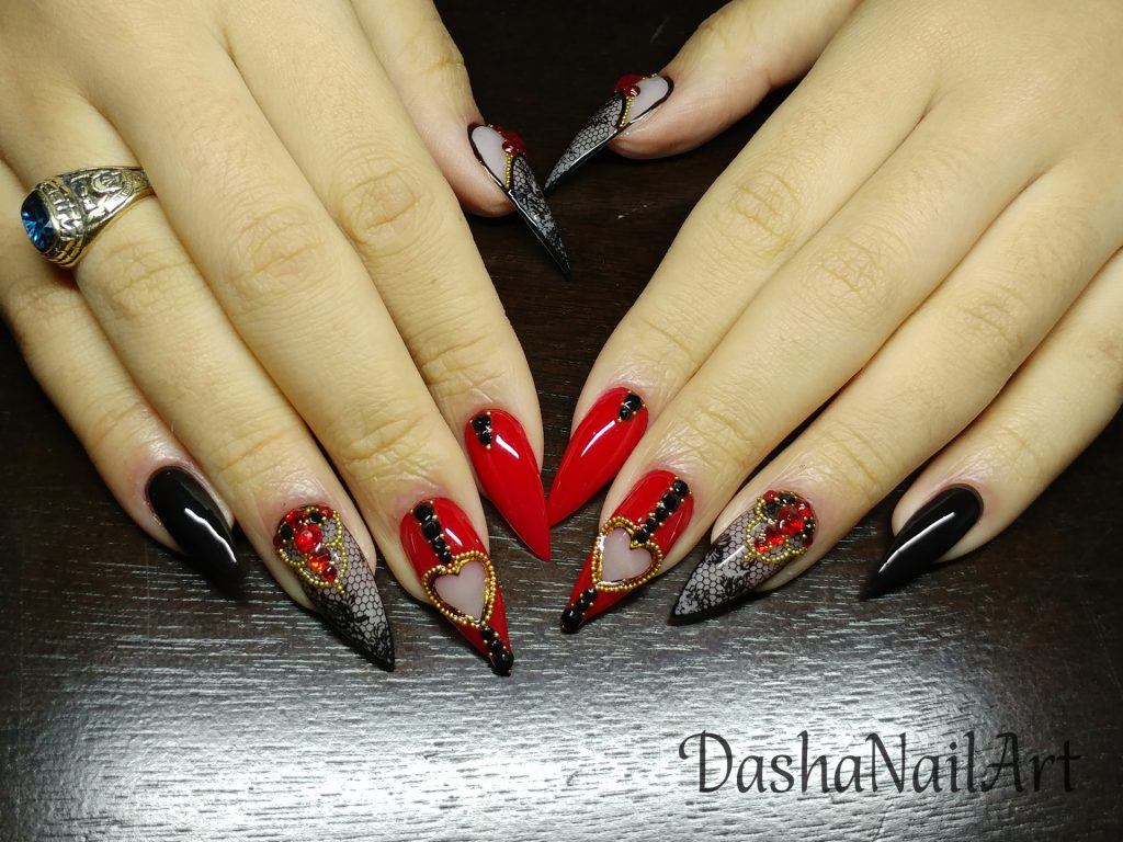 Valentine nails stiletto red & black with lace, gold caviar and red diamonds