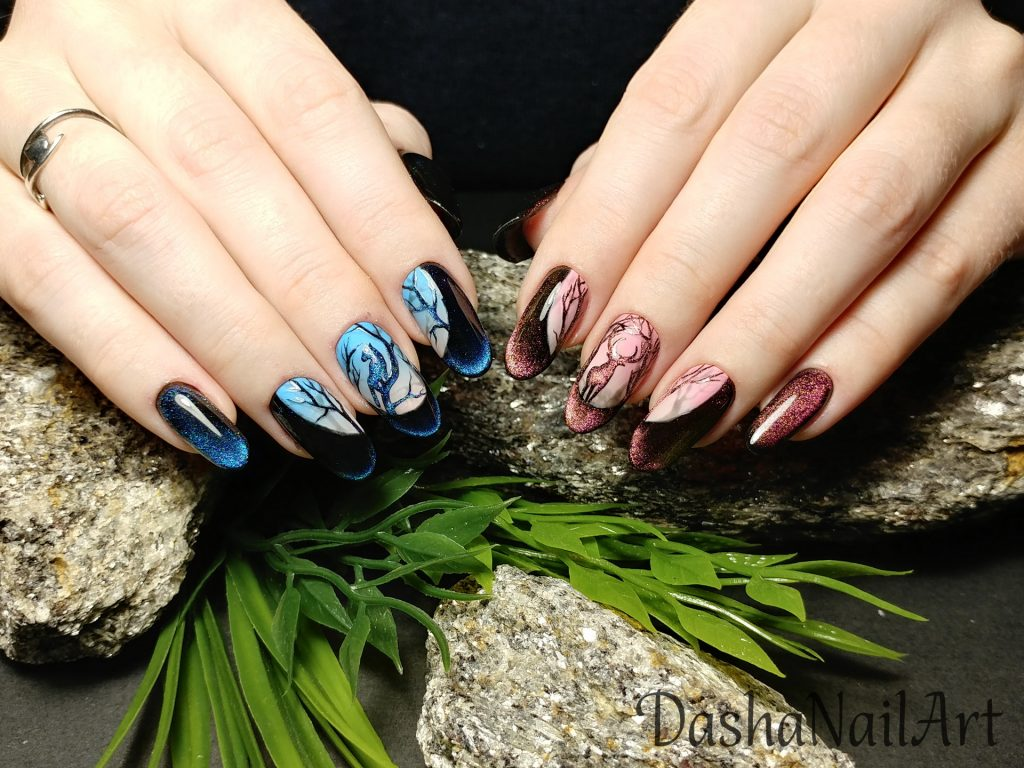 Cat eye moon ombre nails with awesome hand drawn design