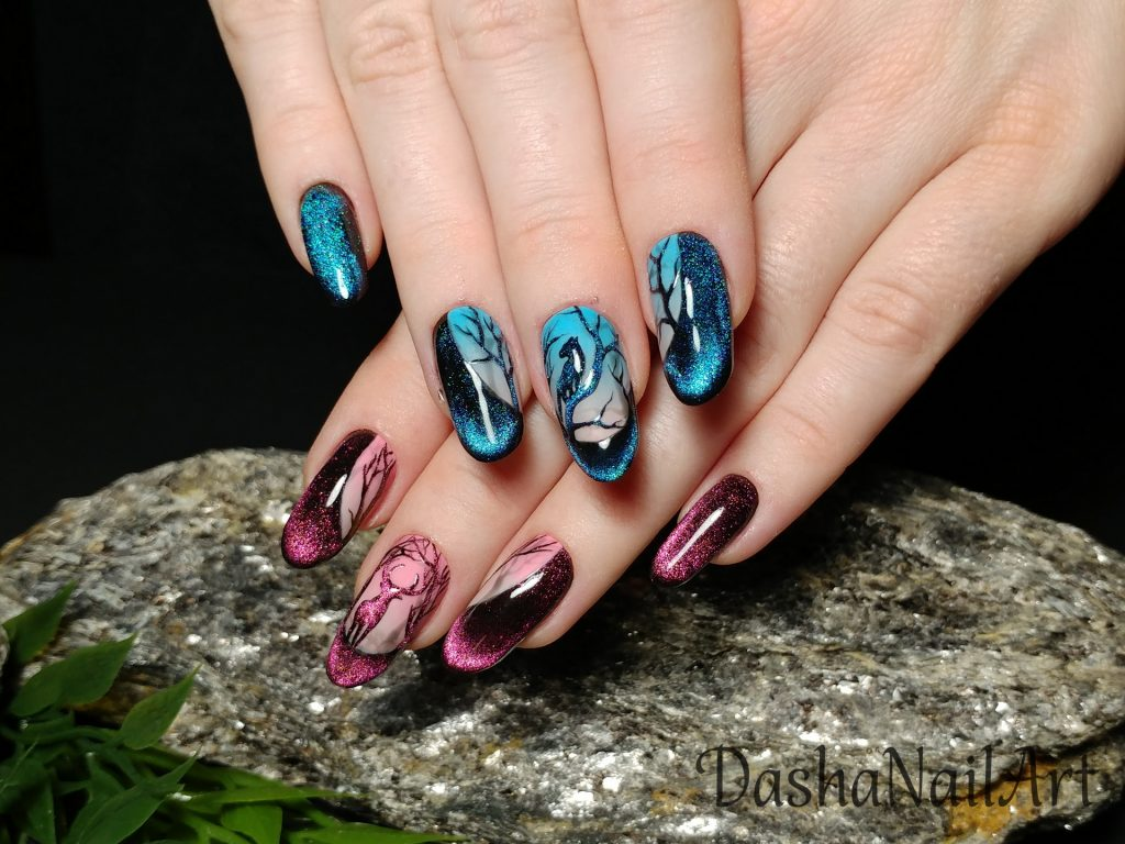 Cat eye ombre nail design with deer and panther in the night forest, whole moon