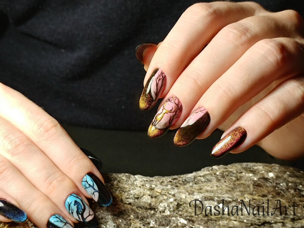Cat eye ombre nails with hand drawn deer and panther in the night forest in front of the whole moon