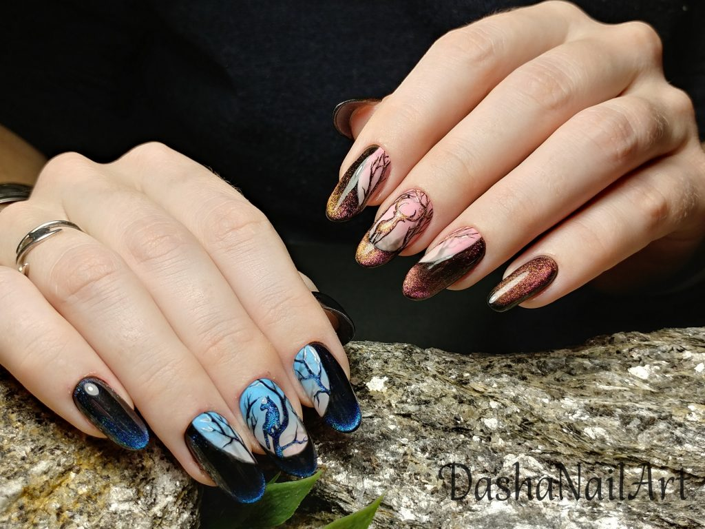 Cat eye moon shine nails, night forest, deer, cat