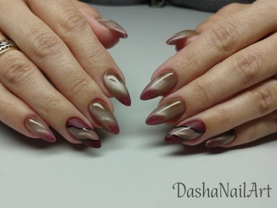 Thermal mood changing cat eye red & nude candy nails