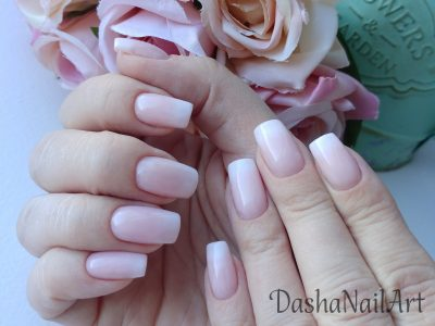 Wedding natural french ombre nails