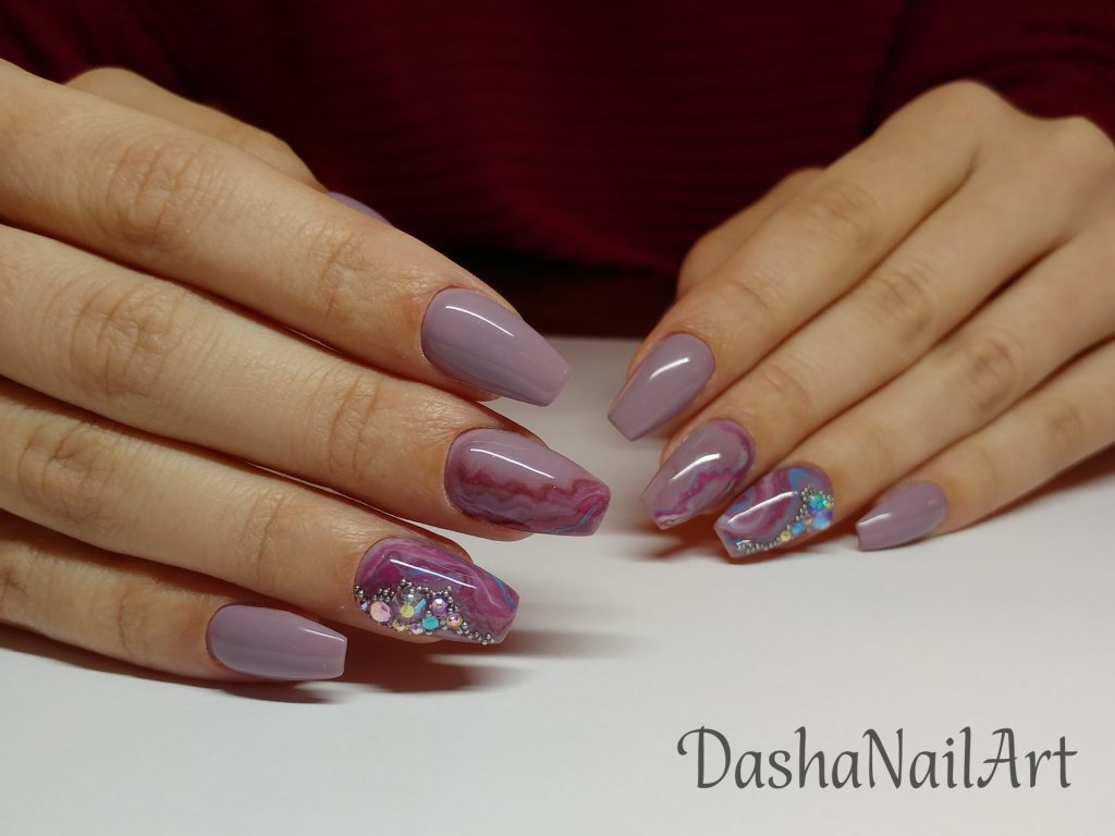 Coffin natural pink stone effect nails with diamonds