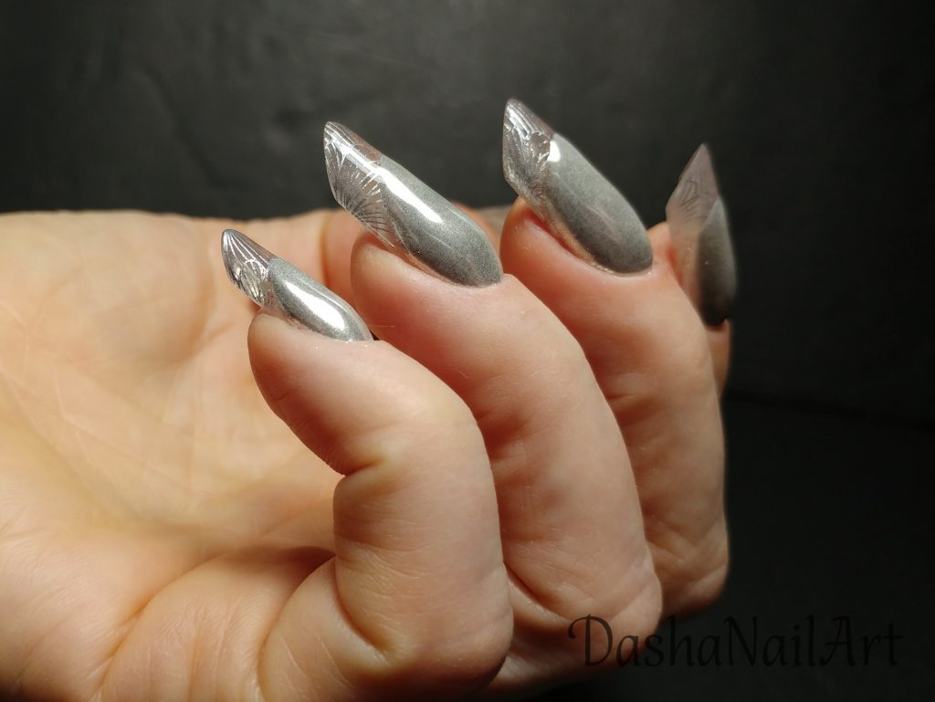 Arch almond clear french nails with silver chrome and stamping