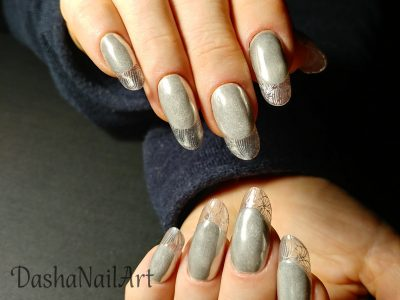 Modern clear french grey nails with silver chrome and stamping