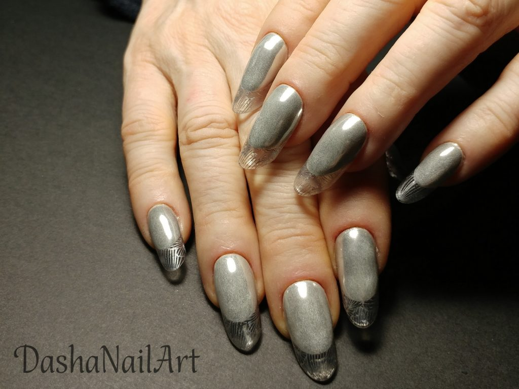 Modern almond transparent tips french nails with silver chrome and stamping