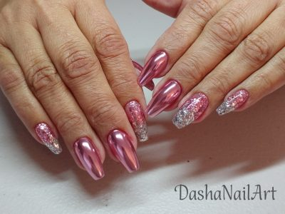 Elite gorgeous coffin rose gold chrome nails with silver pink glitters