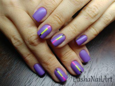 Elegant neon purple violet matte sport nails