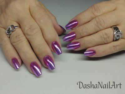 Coffin purple chrome ombre shiny nails