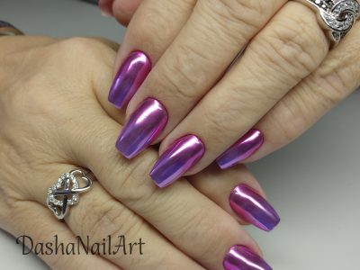 Cool Coffin purple chrome ombre shiny nails